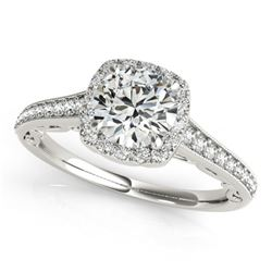 0.90 CTW Certified VS/SI Diamond Solitaire Halo Ring 18K White Gold - REF-151X8R - 26542