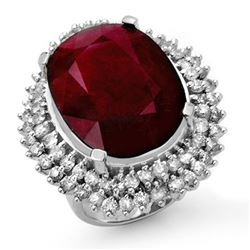 31.12 CTW Ruby & Diamond Ring 18K White Gold - REF-353X3R - 14318