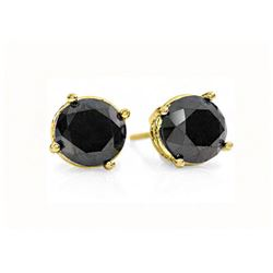 1.50 CTW VS Certified Black Diamond Solitaire Stud Earrings 14K Yellow Gold - REF-37H8M - 14160