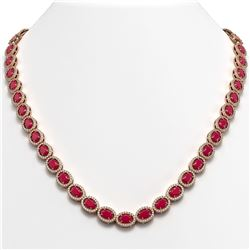 34.11 CTW Ruby & Diamond Necklace Rose Gold 10K Rose Gold - REF-562V9Y - 40404