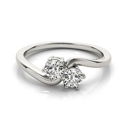 0.75 CTW Certified VS/SI Diamond 2 Stone 2 Stone Ring 18K White Gold - REF-119V3Y - 28230