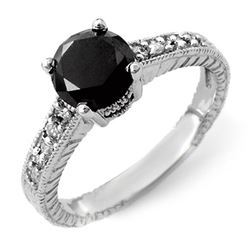 2.05 CTW VS Certified Black & White Diamond Solitaire Ring 14K White Gold - REF-74R9K - 14066