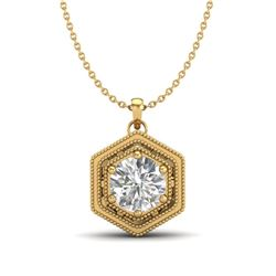 0.76 CTW VS/SI Diamond Solitaire Art Deco Necklace 18K Yellow Gold - REF-178K2W - 36904
