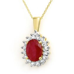 3.70 CTW Ruby & Diamond Pendant 14K Yellow Gold - REF-56Y5X - 14101