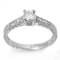0.70 CTW Certified VS/SI Diamond Solitaire Ring 18K White Gold - REF-91F8N - 13617