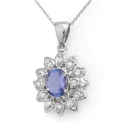 2.0 CTW Tanzanite & Diamond Pendant 14K White Gold - REF-57R3K - 14042