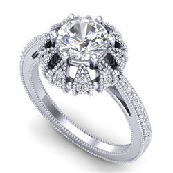 1.65 CTW VS/SI Diamond Solitaire Art Deco Micro Pave Ring 18K White Gold - REF-427X3R - 36992
