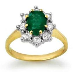 2.02 CTW Emerald & Diamond Ring 14K Yellow Gold - REF-69N3A - 13258