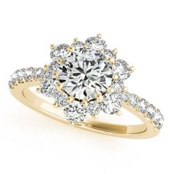 1.09 CTW Certified VS/SI Diamond Solitaire Halo Ring 18K Yellow Gold - REF-142H2M - 26502