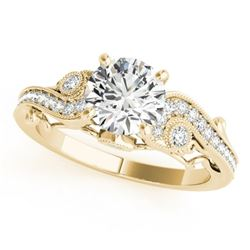 1 CTW Certified VS/SI Diamond Solitaire Antique Ring 18K Yellow Gold - REF-191V3Y - 27410