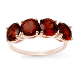 3.66 CTW Garnet Ring 18K Rose Gold - REF-37M3F - 12808