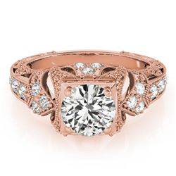 1.25 CTW Certified VS/SI Diamond Solitaire Antique Ring 18K Rose Gold - REF-399Y5X - 27298
