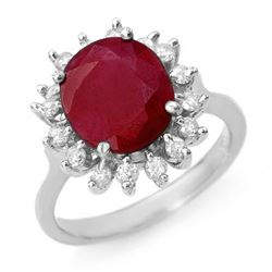 3.68 CTW Ruby & Diamond Ring 14K White Gold - REF-81X8R - 12710