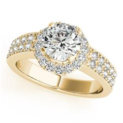 0.90 CTW Certified VS/SI Diamond Solitaire Halo Ring 18K Yellow Gold - REF-143F6N - 27071