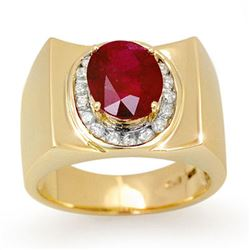 3.33 CTW Ruby & Diamond Men's Ring 10K Yellow Gold - REF-58X4R - 13487