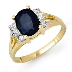 2.14 CTW Blue Sapphire & Diamond Ring 14K Yellow Gold - REF-45R5K - 13912