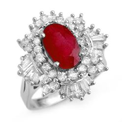 4.70 CTW Ruby & Diamond Ring 18K White Gold - REF-184R7K - 13323