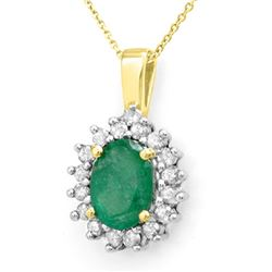 3.50 CTW Emerald & Diamond Necklace 14K Yellow Gold - REF-58K2W - 13718