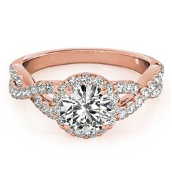 1.54 CTW Certified VS/SI Diamond Solitaire Halo Ring 18K Rose Gold - REF-385R8K - 26558