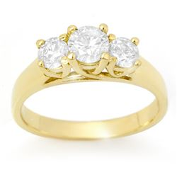 1.0 CTW Certified VS/SI Diamond 3 Stone Ring 18K Yellow Gold - REF-147V3Y - 12688