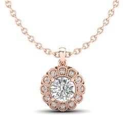 1.15 CTW VS/SI Diamond Solitaire Art Deco Stud Necklace 18K Rose Gold - REF-315X2R - 37056