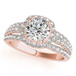 1.75 CTW Certified VS/SI Diamond Solitaire Halo Ring 18K Rose Gold - REF-252N7A - 26746