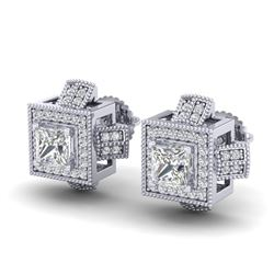 1.73 CTW Princess VS/SI Diamond Micro Pave Stud Earrings 18K White Gold - REF-254X5R - 37184