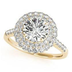 1.50 CTW Certified VS/SI Diamond Solitaire Halo Ring 18K Yellow Gold - REF-229H5M - 26454