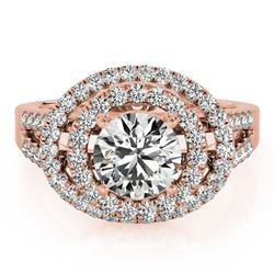1.75 CTW Certified VS/SI Diamond Solitaire Halo Ring 18K Rose Gold - REF-438R4K - 26926
