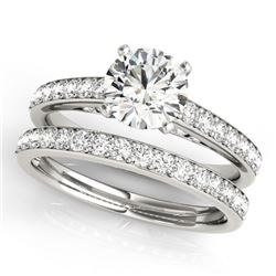1.91 CTW Certified VS/SI Diamond Solitaire 2Pc Wedding Set 14K White Gold - REF-401N5A - 31607