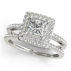 1.21 CTW Certified VS/SI Princess Diamond 2Pc Set Solitaire Halo 14K White Gold - REF-227X3R - 31352