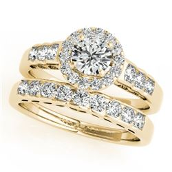 1.71 CTW Certified VS/SI Diamond 2Pc Wedding Set Solitaire Halo 14K Yellow Gold - REF-234W5H - 31258