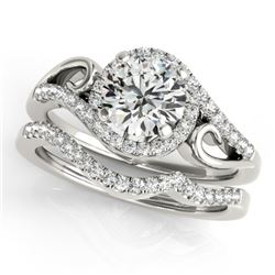 0.95 CTW Certified VS/SI Diamond 2Pc Set Solitaire Halo 14K White Gold - REF-130A2V - 31196