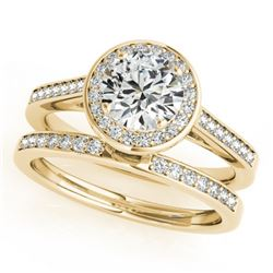 0.86 CTW Certified VS/SI Diamond 2Pc Wedding Set Solitaire Halo 14K Yellow Gold - REF-135V6Y - 30806