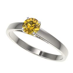 0.50 CTW Certified Intense Yellow SI Diamond Solitaire Engagement Ring 10K White Gold - REF-63X7R -