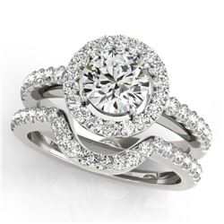 0.96 CTW Certified VS/SI Diamond 2Pc Wedding Set Solitaire Halo 14K White Gold - REF-138V7Y - 30774