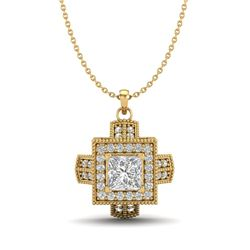 0.84 CTW Princess VS/SI Diamond Solitaire Micro Pave Necklace 18K Yellow Gold - REF-149F3N - 37192