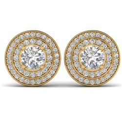 1.45 CTW I-SI Diamond Solitaire Art Deco Halo Stud Earrings 14K Yellow Gold - REF-126X2R - 30368