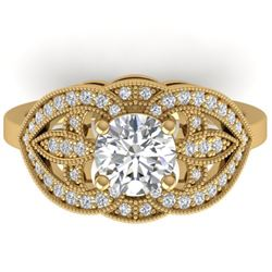 1.50 CTW Certified VS/SI Diamond Art Deco Micro Ring 14K Yellow Gold - REF-376A2V - 30512