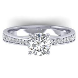 1.26 CTW Certified VS/SI Diamond Solitaire Art Deco Ring 14K White Gold - REF-352M4F - 30384
