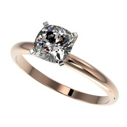1 CTW Certified VS/SI Quality Cushion Cut Diamond Solitaire Ring 10K Rose Gold - REF-297F2N - 32901