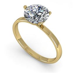 1.51 CTW Certified VS/SI Diamond Engagement Ring 18K Yellow Gold - REF-524A7V - 32239