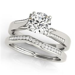 0.85 CTW Certified VS/SI Diamond Solitaire 2Pc Wedding Set 14K White Gold - REF-154M5F - 31934