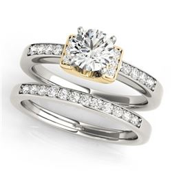 0.76 CTW Certified VS/SI Diamond Solitaire 2Pc Set 14K White & Yellow Gold - REF-134F5N - 31587