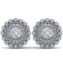 1.50 CTW Certified VS/SI Diamond Art Deco Stud Earrings 14K White Gold - REF-204K2W - 30555