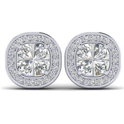2 CTW Cushion Cut Certified VS/SI Diamond Art Deco Stud Earrings 14K White Gold - REF-390H2M - 30336