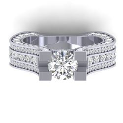 4.5 CTW Certified VS/SI Diamond Art Deco Micro Ring 14K White Gold - REF-572Y4X - 30285