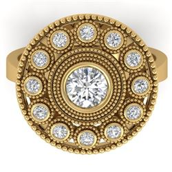 0.91 CTW Certified VS/SI Diamond Art Deco Ring 14K Yellow Gold - REF-160K2W - 30464