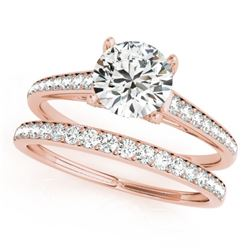 1.53 CTW Certified VS/SI Diamond Solitaire 2Pc Wedding Set 14K Rose Gold - REF-230Y2X - 31599