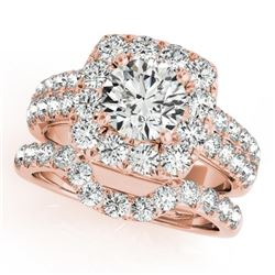 2.51 CTW Certified VS/SI Diamond 2Pc Wedding Set Solitaire Halo 14K Rose Gold - REF-312Y7X - 30889